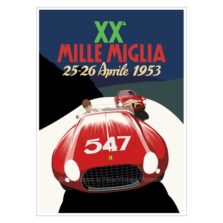 Ferrari Mille Miglia art deco poster